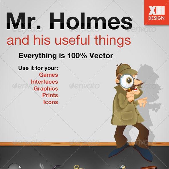 Mr. Holmes Detective Illustration And 5 Gadgets