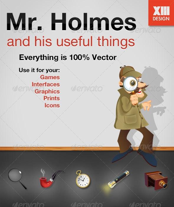 Mr. Holmes Detective Illustration And 5 Gadgets - Characters Vectors