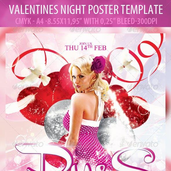 Valentines Night Poster Template & Valentines Nigh