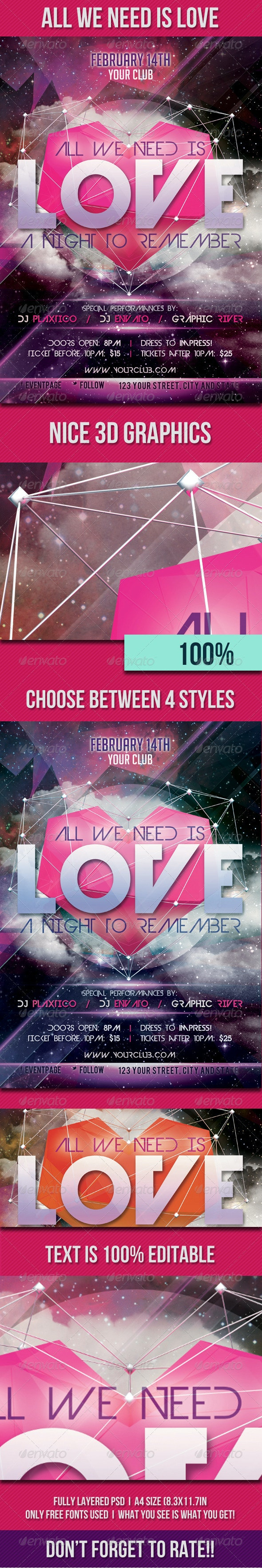 All We Need is Love Flyer Template - Clubs & Parties Events