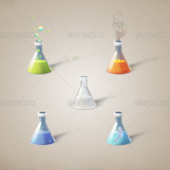 Flasks with magical ingredients