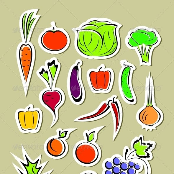 Stickers of Vegetables and Fruits