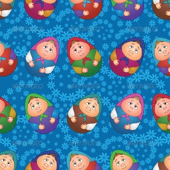 Seamless, Dolls and Floral Pattern - Patterns Decorative