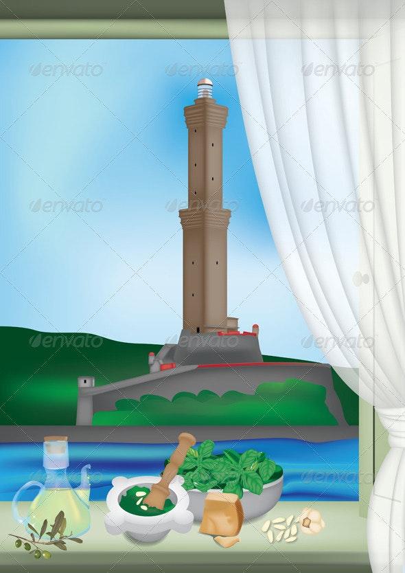 Genoa Lantern and Pesto Sauce - Buildings Objects
