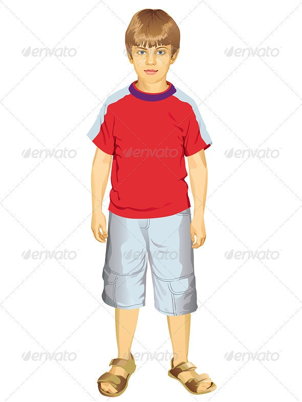 Little Boy Standing Vector Illustration - People Characters