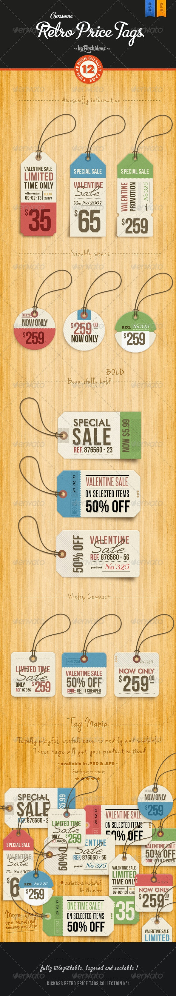 Set of 12 Retro Price Tags - Miscellaneous Web Elements