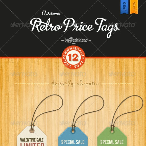 Set of 12 Retro Price Tags
