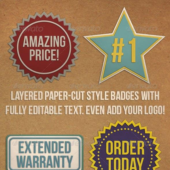 Editable Paper Cut Badges