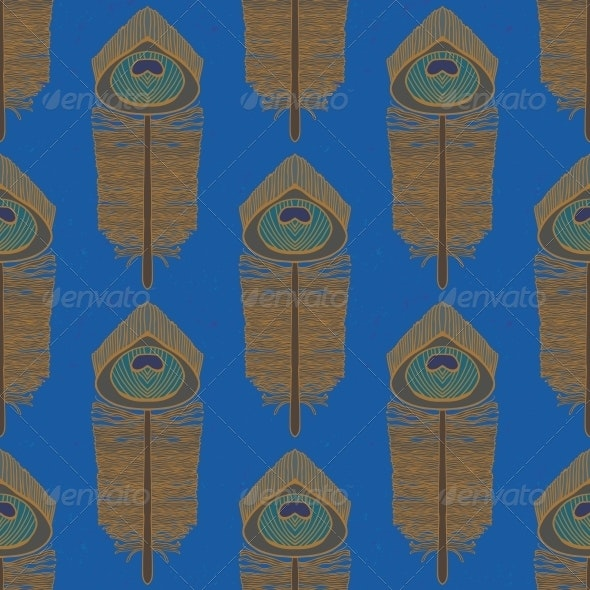 Peacock Feathers, Seamless Vector Pattern - Patterns Decorative