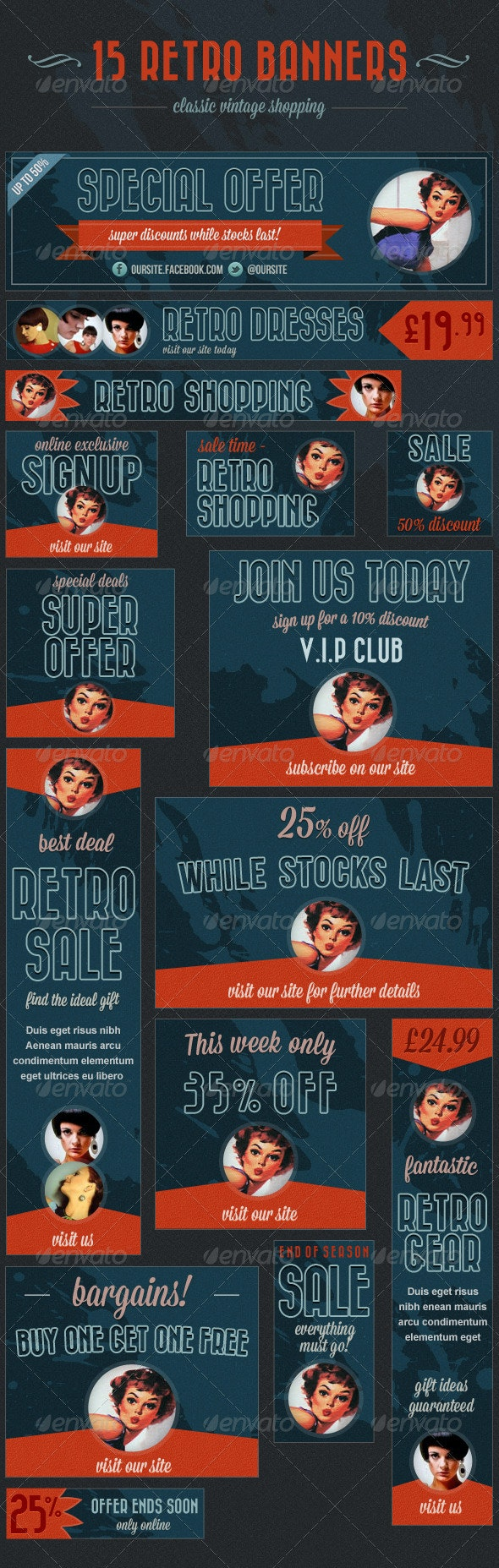 15 Retro Banners - Vintage Shopping Ads - Banners & Ads Web Elements