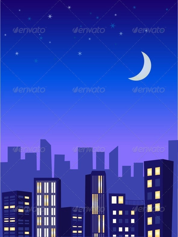 Night City Illustration - Buildings Objects