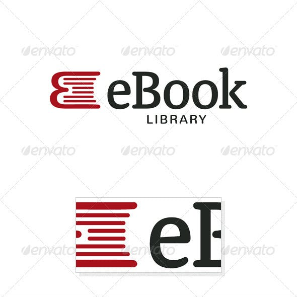 eBook - Book and E Letter Logo Template