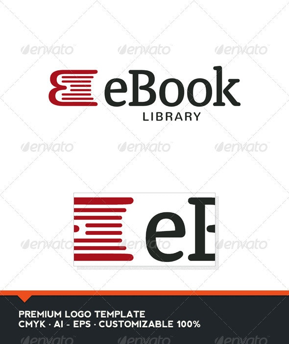eBook - Book and E Letter Logo Template - Objects Logo Templates