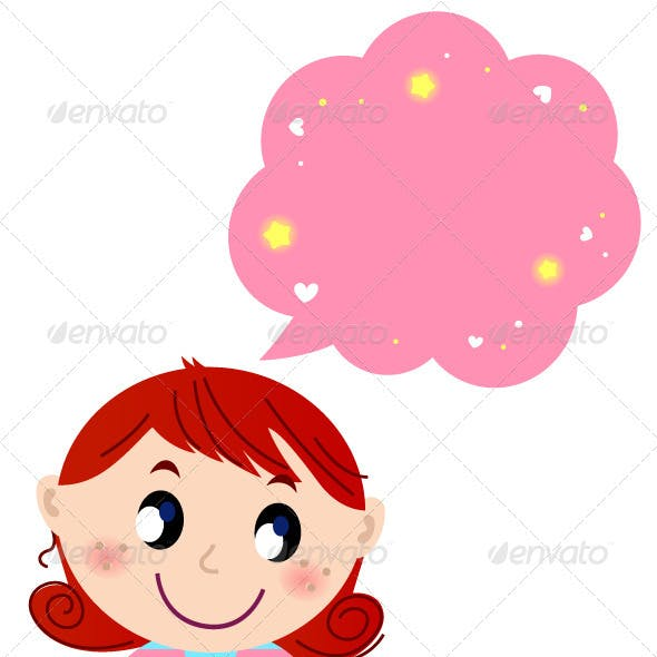 Little Cute Girl with Pink Dreaming Bubble