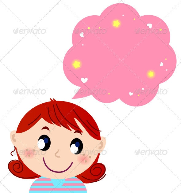 Little Cute Girl with Pink Dreaming Bubble - Valentines Seasons/Holidays