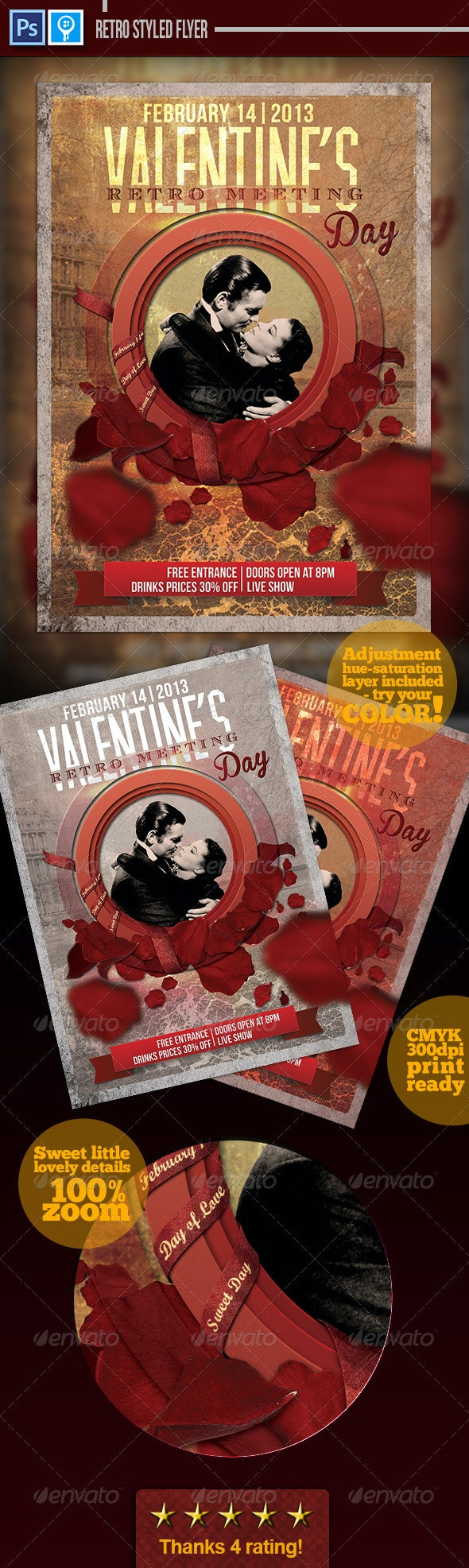 Retro Valentines Day Flyer - Events Flyers