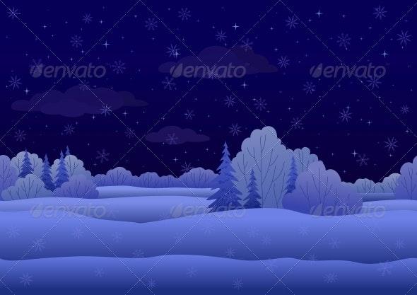 Christmas Landscape, Night Winter Forest - Landscapes Nature