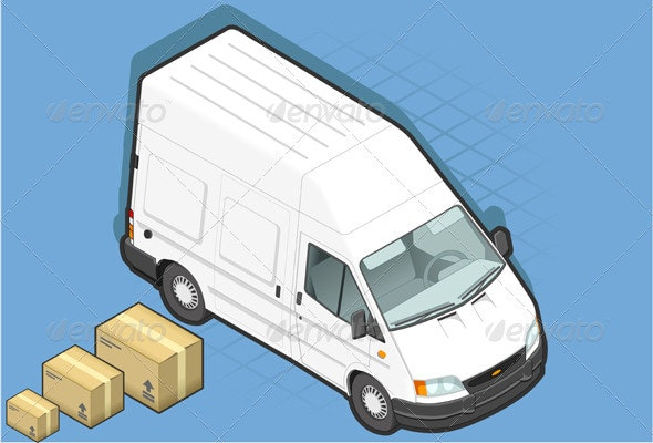 Isometric White Van with Some Packs - Miscellaneous Vectors