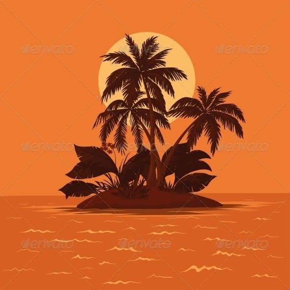 Island with palm and sun
