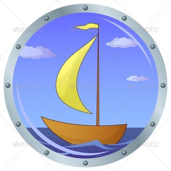 Ship in a window - Travel Conceptual