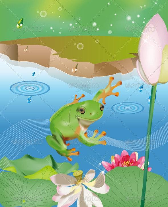 Jumping Frog in Pond - Landscapes Nature