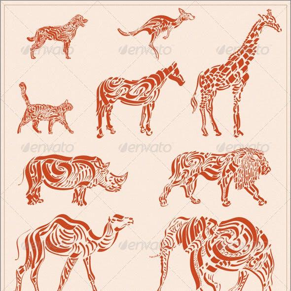 Calligraphic Animal Silhouettes