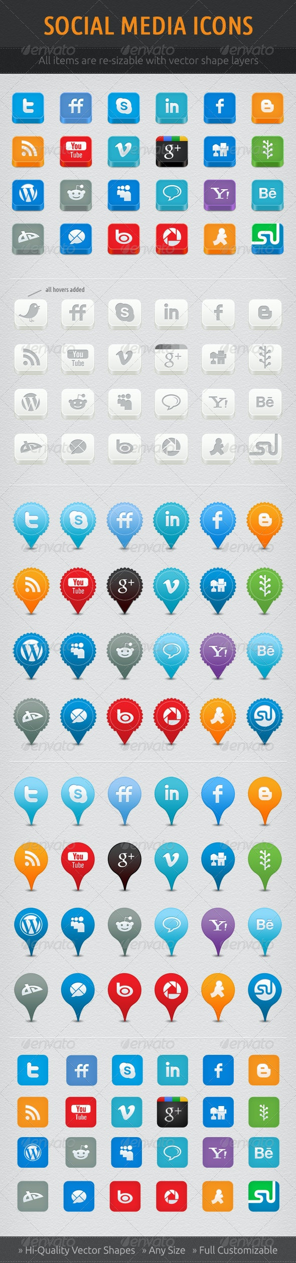 Social Network Icon Set - Web Icons