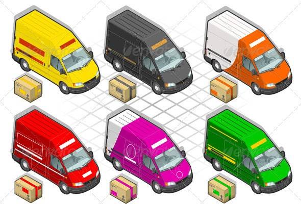 Isometric Delivery Van in Six Livery - Miscellaneous Vectors
