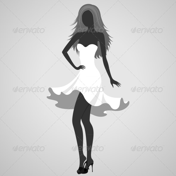 Silhouette of a Turning Dancer Girl - People Characters