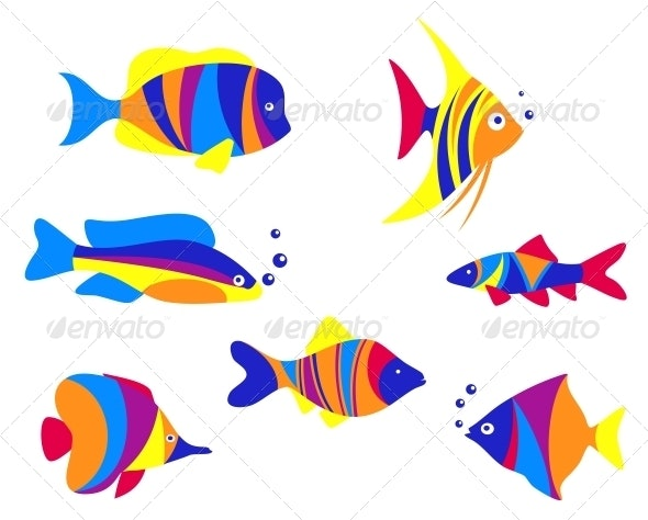 Abstract colorful aquarium fishes - Animals Characters