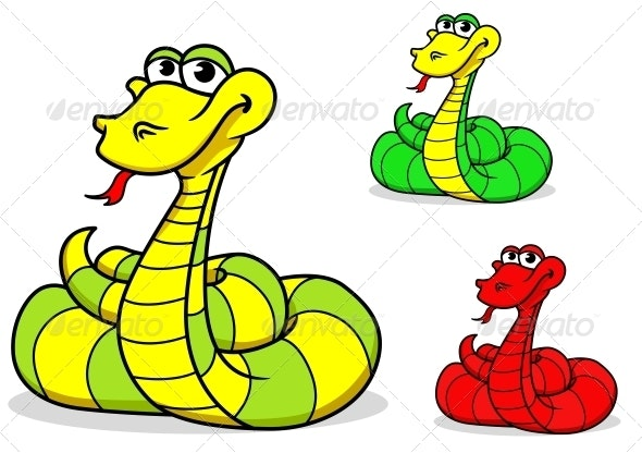 Cartoon funny snake - Monsters Characters