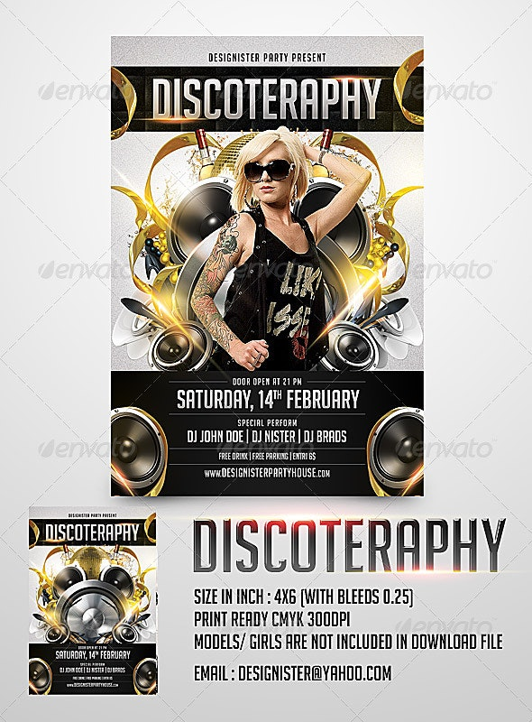 Discoteraphy Party Flyer - Clubs & Parties Events