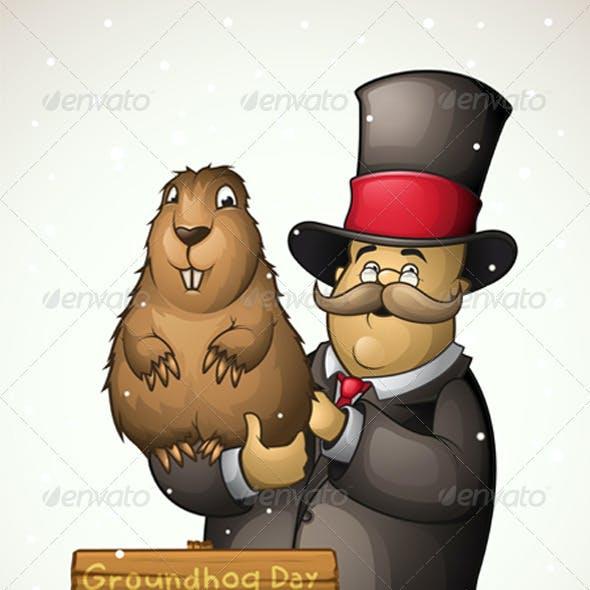 Groundhog and man on Groundhog Day