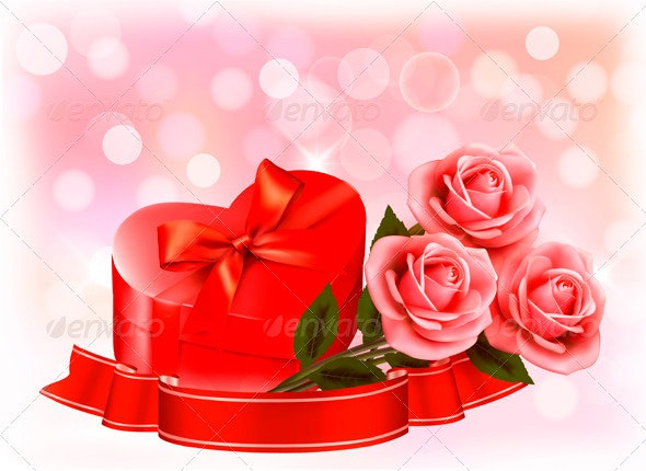Valentines day background Three red roses with red - Valentines Seasons/Holidays