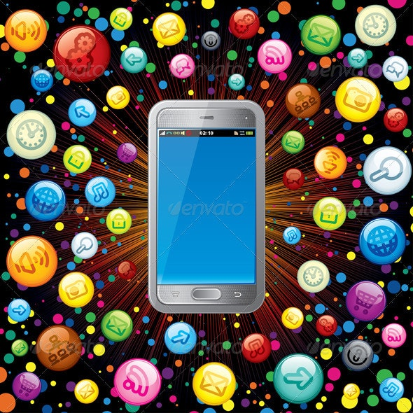 Smart Phone with Media Icons - Media Technology
