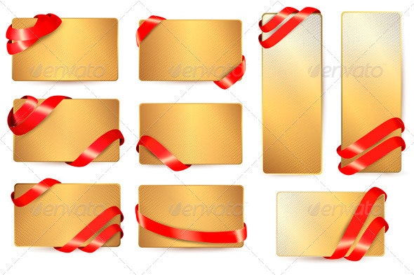 Set of Gold Business Cards with Red Ribbons - Borders Decorative