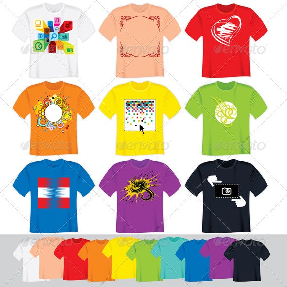 T Shirt Templates - Objects Vectors