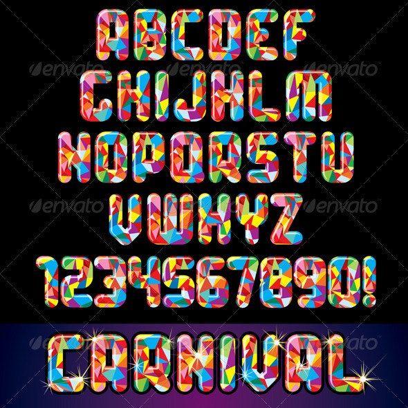 Festive Carnival Alphabet - Decorative Symbols Decorative