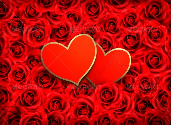 Valentines Day Background Two Hearts on Background - Valentines Seasons/Holidays
