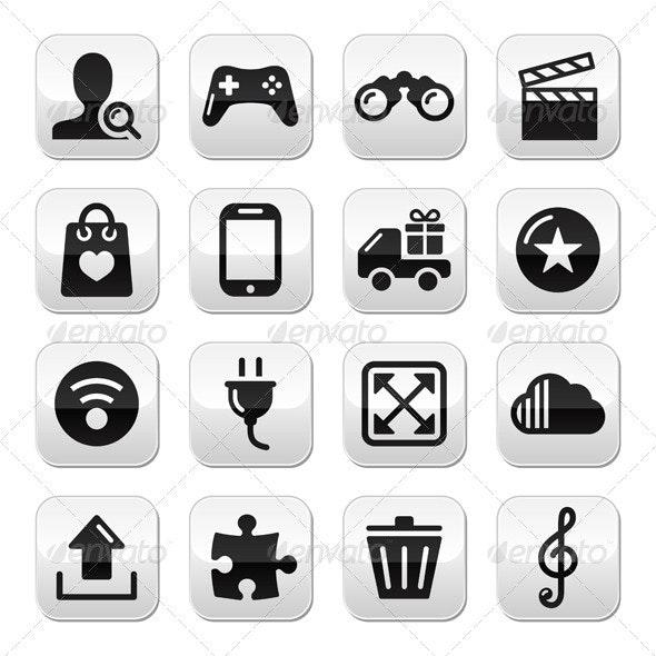 Web Internet Grey Buttons Set - Vector - Computers Technology