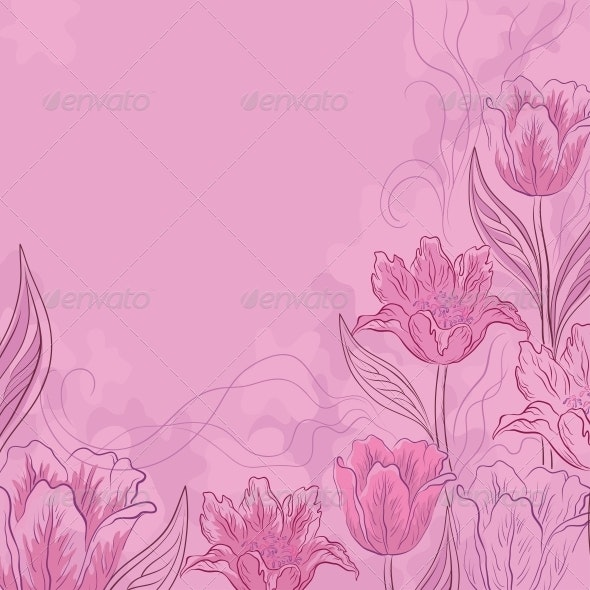 Flowers Tulips on Pink - Patterns Decorative