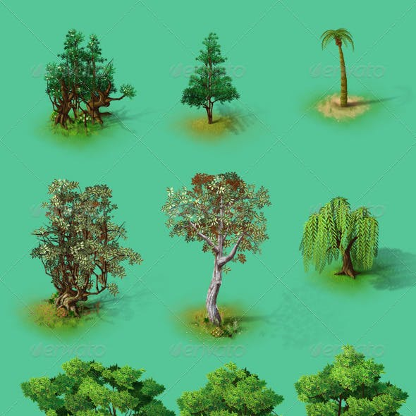 Fairy Tale Trees 2D Isometric HD Png-Psd Included