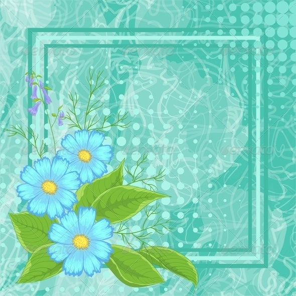Background with Flowers and Frame - Patterns Decorative