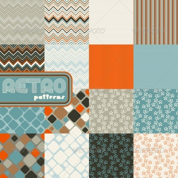 Set of Abstract Retro Seamless Patterns. - Patterns Decorative