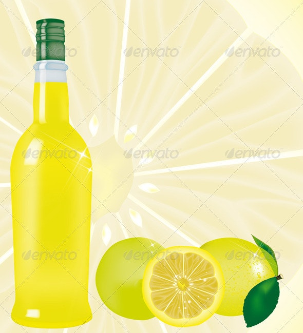 Limoncello Bottle - Food Objects