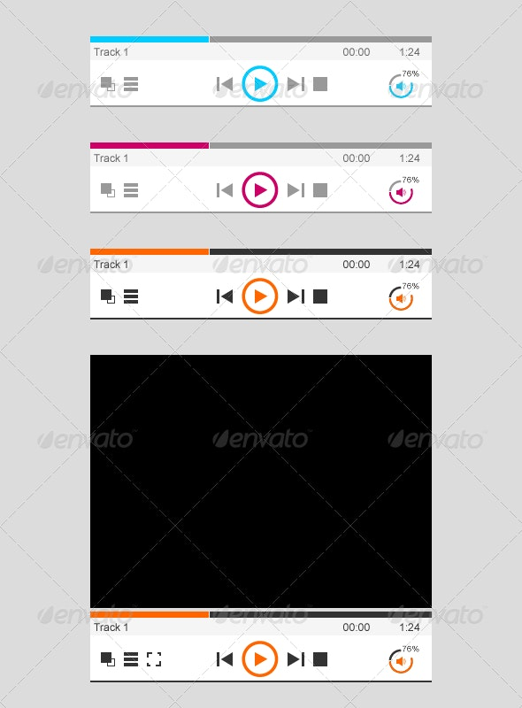 Audio & Video Player - User Interfaces Web Elements