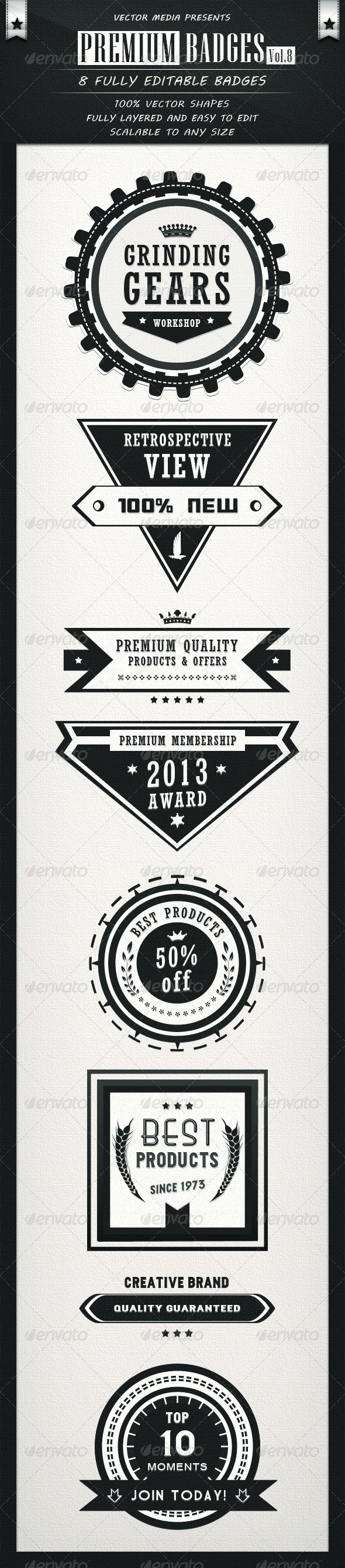 Premium Badges - Vol.8 - Badges & Stickers Web Elements