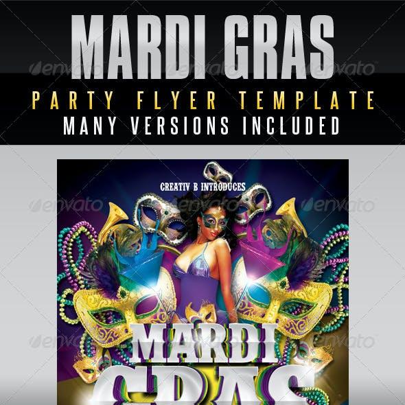 Mardi Gras Party Flyer Template
