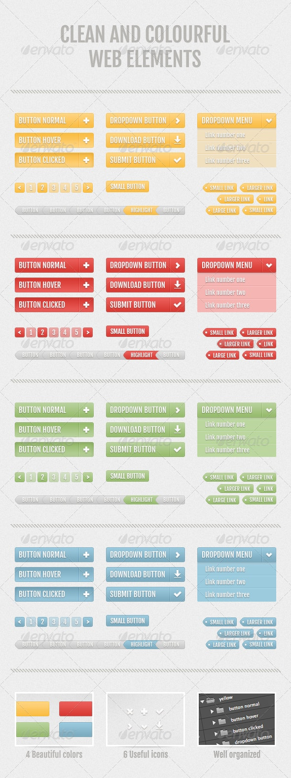 Clean and Colourful Web Elements - Buttons Web Elements