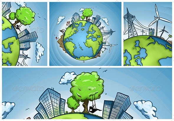 Green Earth Concept - Scenes Illustrations